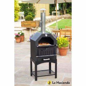 La Hacienda Multi-Function Outdoor Steel Pizza Garden Oven outside